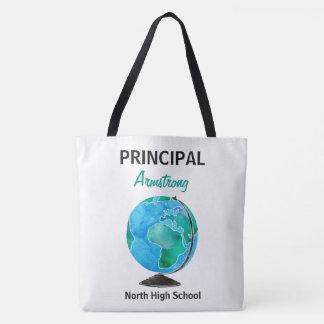 Bolsa Tote Director de escola personalizado globo da aguarela