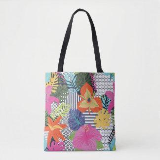 Bolsa Tote Divertimento & sacola gráfica floral moderna