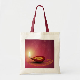 Bolsa Tote Diwali feliz brilhante Diya - saco