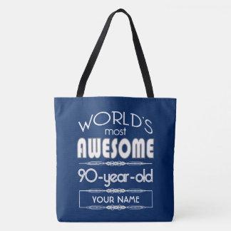 Bolsa Tote do 90 do aniversário dos mundos azul escuro