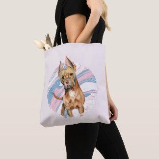 """Bolsa Tote Do """"pintura da aguarela do cão do pitbull das"""
