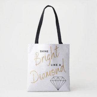 Bolsa Tote Do preto brilhante do roteiro do diamante do