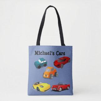 """Bolsa Tote Do """"saco azul dos carros brinquedo"""" da criança"""
