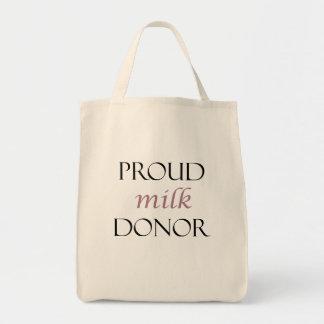 Bolsa Tote Doador orgulhoso do leite com escrita cor-de-rosa
