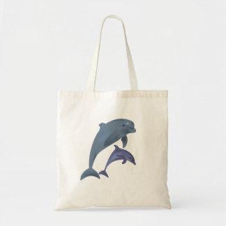 Bolsa Tote Dois golfinhos tropicais que saltam ao lado de se