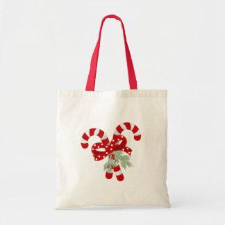 Bolsa Tote Dois vermelhos e bastões de doces brancos cruzados