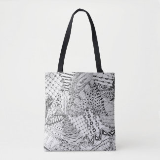 Bolsa Tote Doodle preto & branco, desenho original Tangled