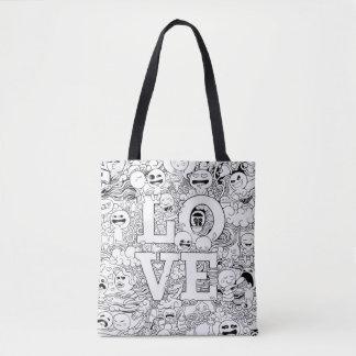 Bolsa Tote Doodles do amor