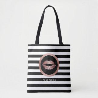 Bolsa Tote Dos lábios cor-de-rosa do ouro do salão de beleza