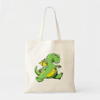Bolsa Tote Dragão verde dos desenhos animados que anda em