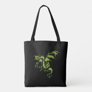 Bolsa Tote Dragão verde no preto