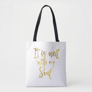 Bolsa Tote É bem com minhas citações da alma