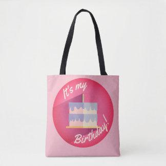 Bolsa Tote É meu saco cor-de-rosa do bolo de aniversário por