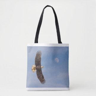 Bolsa Tote Eagle que voa com lua - saco