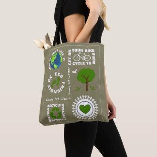 Bolsa Tote Eco amigável vai terra verde do planeta do amor