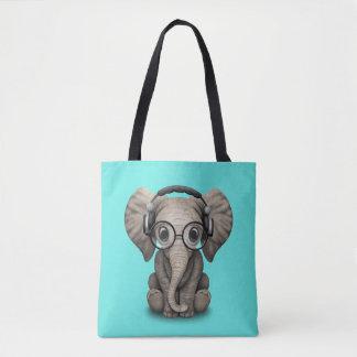 Bolsa Tote Elefante bonito DJ do bebê que veste fones de