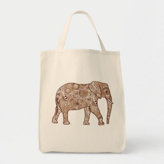 Bolsa Tote Elefante, Brown e Taupe do redemoinho do Fractal