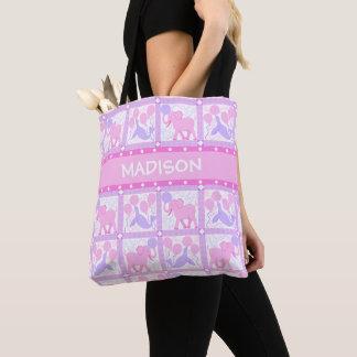 Bolsa Tote Elefante cor-de-rosa do bebé do circo | para a