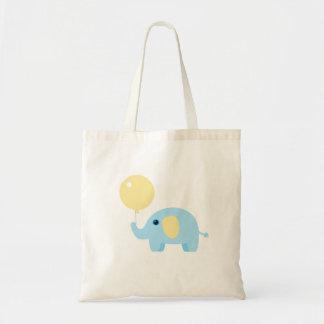 Bolsa Tote elefante do bebê azul com balão