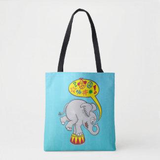 Bolsa Tote Elefante irritado do circo que diz palavras más