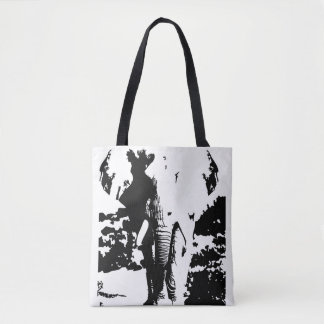 Bolsa Tote Elefante preto e branco do impressão do saco