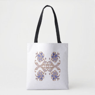 Bolsa Tote elemento floral do ouro do damasco