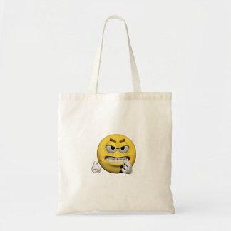 Bolsa Tote Emoticon irritado amarelo ou smiley