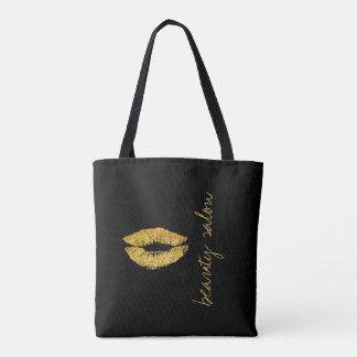 Bolsa Tote Encanto do preto dos lábios do ouro do nome do