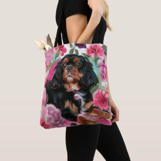 Bolsa Tote Enegreça e tan floral cor-de-rosa descuidado da