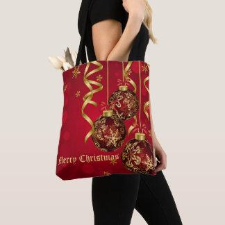 Bolsa Tote Enfeites de natal vermelhos & dourados festivos na