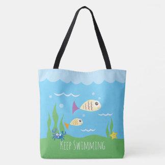 Bolsa Tote Engraçado apenas mantenha nadar peixes