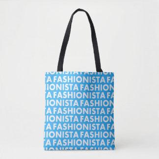 Bolsa Tote Entalhe azul corajoso do texto do Fashionista