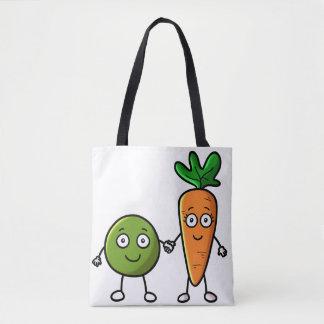 Bolsa Tote Ervilhas e saco de compras das cenouras