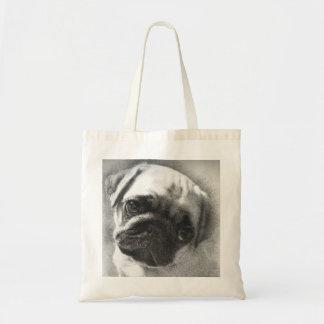 Bolsa Tote Esboço do cão de filhote de cachorro do Pug