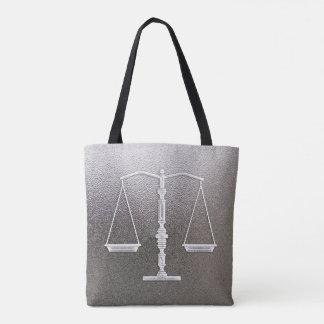 Bolsa Tote Escalas elegantes de metálico gráfico de justiça |