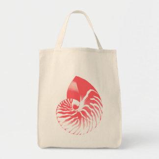 Bolsa Tote Escudo do nautilus - cor-de-rosa coral e branco