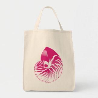 Bolsa Tote Escudo do nautilus - cor-de-rosa fúcsia e branco