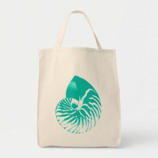 Bolsa Tote Escudo do nautilus - turquesa, aqua e branco