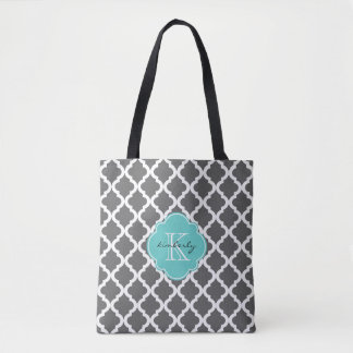 Bolsa Tote Escuro - marroquino Quatrefoil Monogam das cinzas