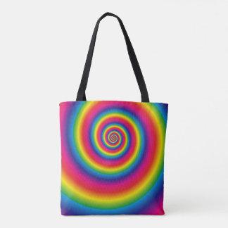 Bolsa Tote Espiral do arco-íris