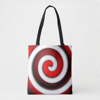 Bolsa Tote Espiral hipnótica vermelha