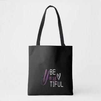 """Bolsa Tote """"Estar-você-tiful"""" sacola das citações"""