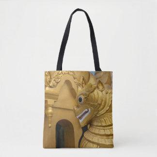 Bolsa Tote Estátua dourada do leão no templo