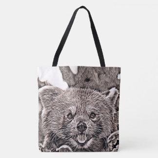 Bolsa Tote Estilo rústico - panda vermelha 2