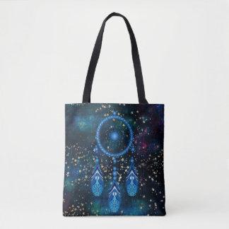 Bolsa Tote Estrelas celestiais azuis do ouro de Dreamcatcher