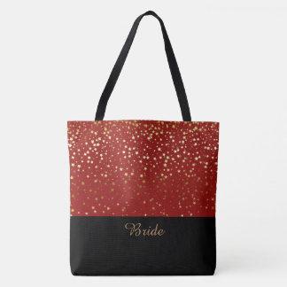Bolsa Tote Estrelas douradas vermelhas & pequenos da sacola