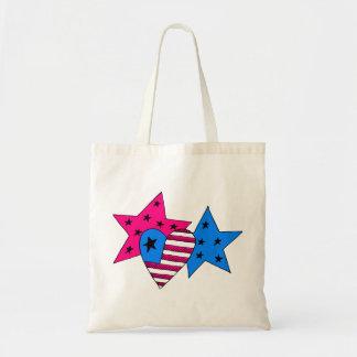 Bolsa Tote Estrelas e saco patrióticos do coração
