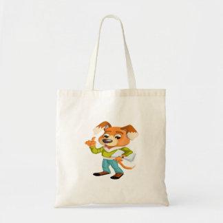 Bolsa Tote Estudante do cão dos desenhos animados que obtem