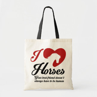 Bolsa Tote Eu ama/cavalos do coração