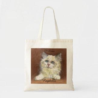 Bolsa Tote Eu amo a arte do gatinho de Ragdolls